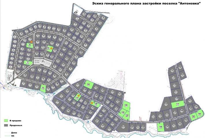Коттеджный поселок «Антоновка» генплан №1